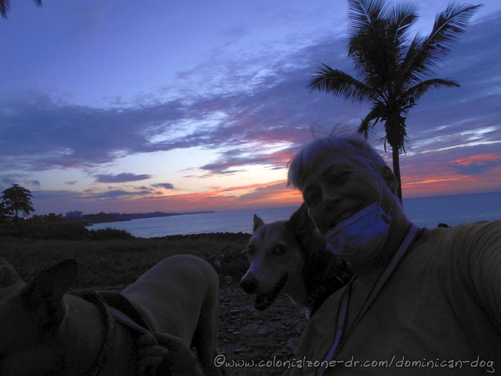 This is me and my momma enjoying the sunrise at Punta Torrecilla. She is wearing her mask.