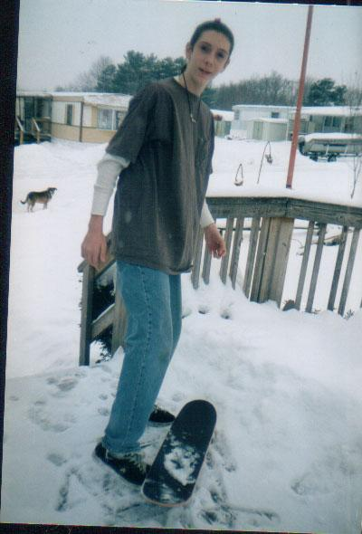Billy Jay Keys skateboarding in the snow