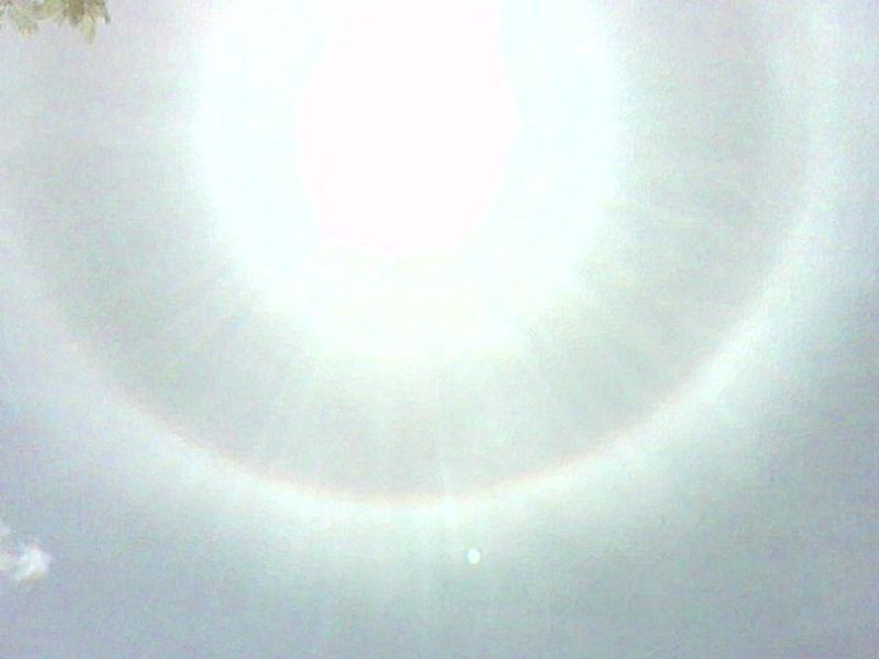 The rainbow halo around the sun Billy Jay sent on his birthday (original flipphone image)