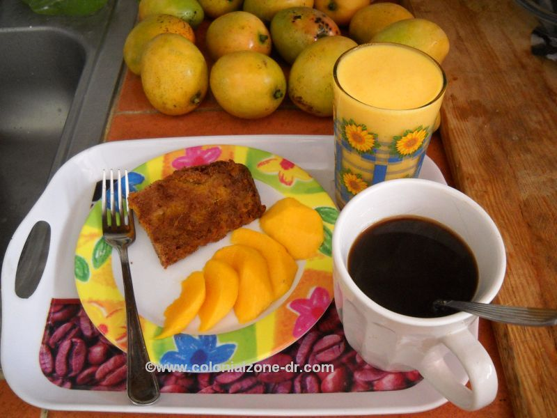 mango bread sliced mango mango smoothie and coffee