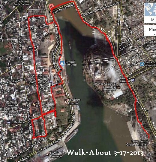 Map of our Walk-About 3-17-2013