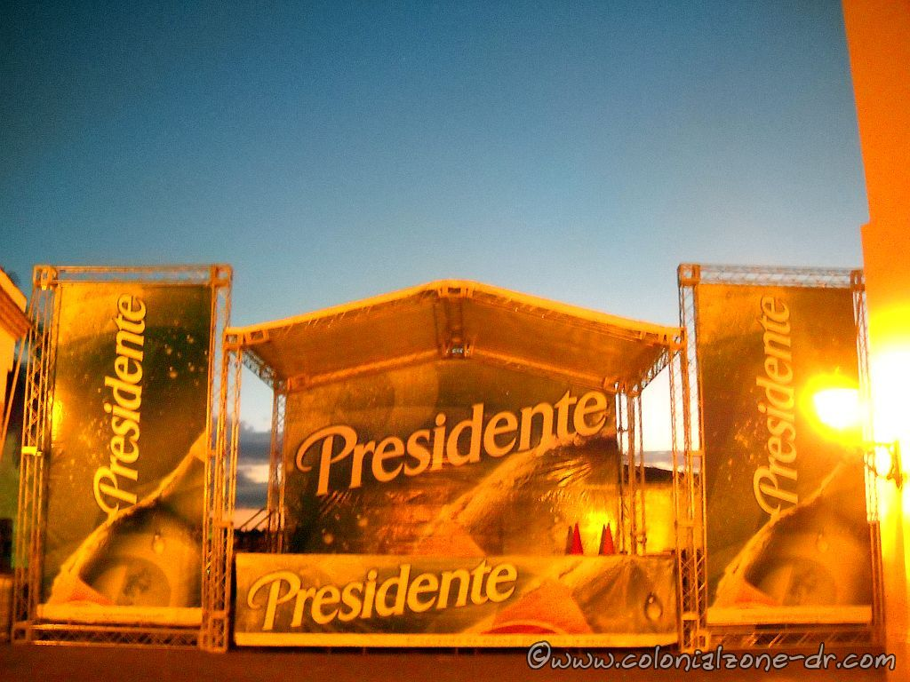 The Presidente Beer stand in the morning light