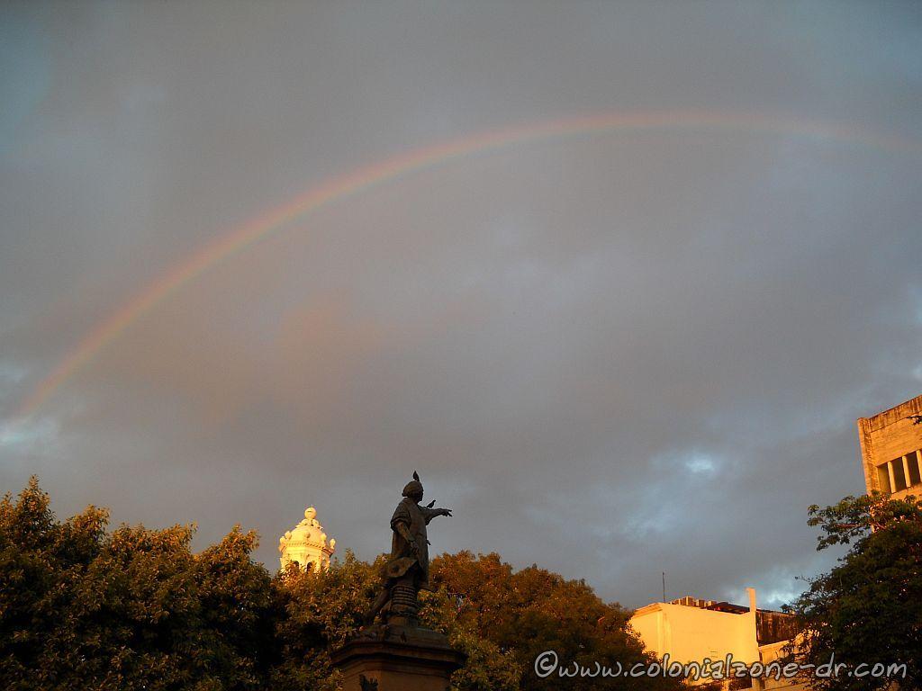 Morning rainbow in Parque Colon, Santo Domingo