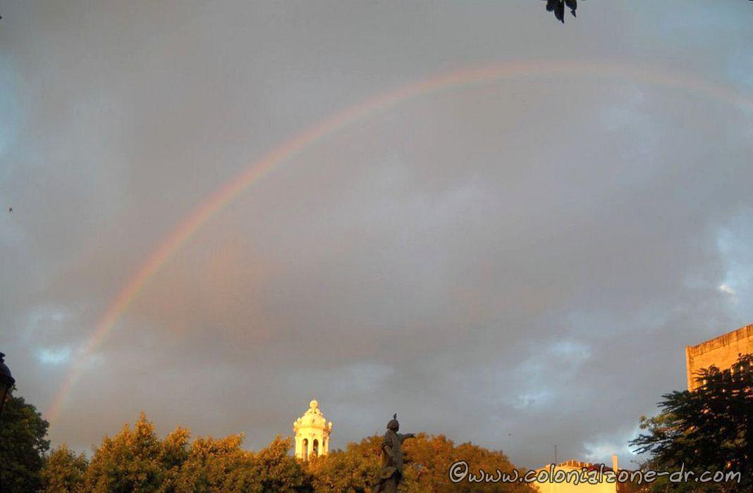Panorama rainbow in Columbus Park 11-22-2013 at 7AM.