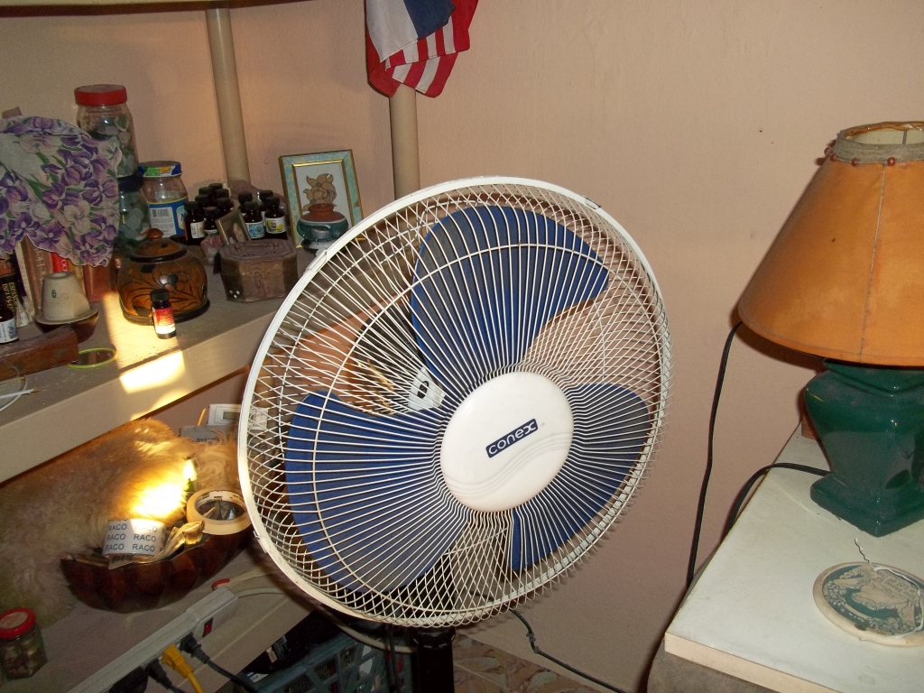 The Death Fan all fixed and ready to do its job