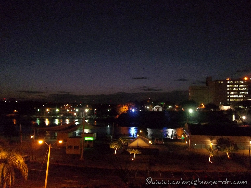 Rio Ozama at 5:30AM. The lights reflecting off the water.