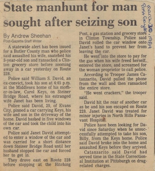Billy Jay Abduction March 30 1984 Pittsburgh Post Gazette