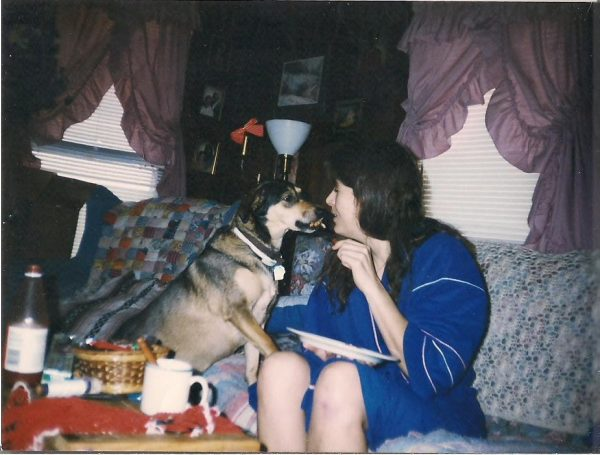 Janette and Sniffy with treats 1993. As always, a bottle of hot sauce is close by.