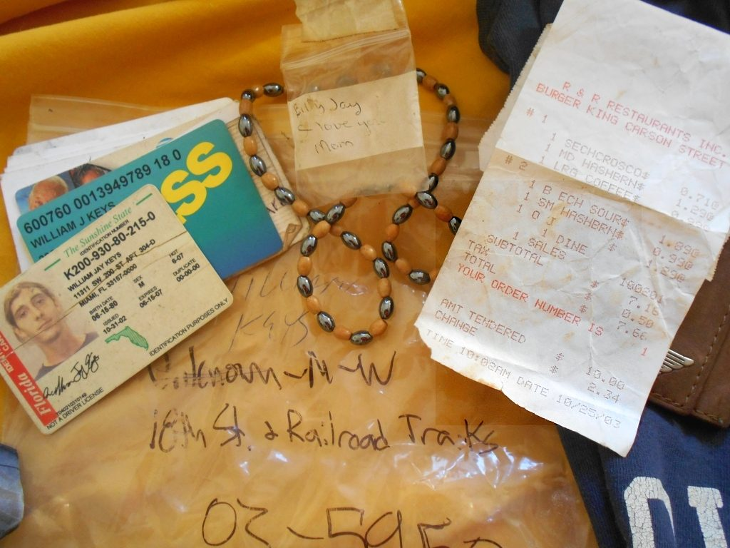 Billy Jay Keys ID. A necklace he never wore from me, his mom and the receipt in his wallet from breakfast at Burger King. Maybe the last meal he ever ate.