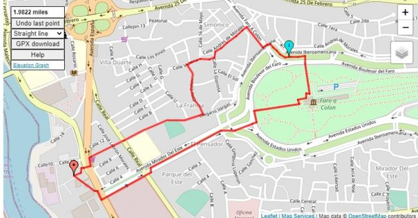 Map of the 2 mile walkabout with Buenagente and Inteliperra around Villa Duarte early in the morning.