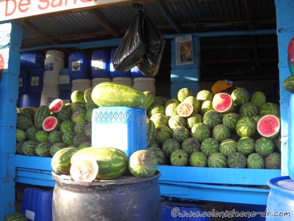 A Watermelon / Sandia stand along the road in Dominican Republic.