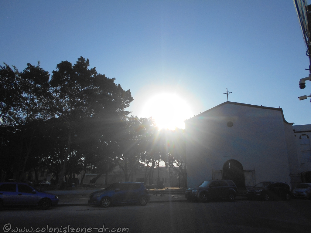 Iglesia San Carlos at Parque Eduardo Abreu as the sun was shining behind the church